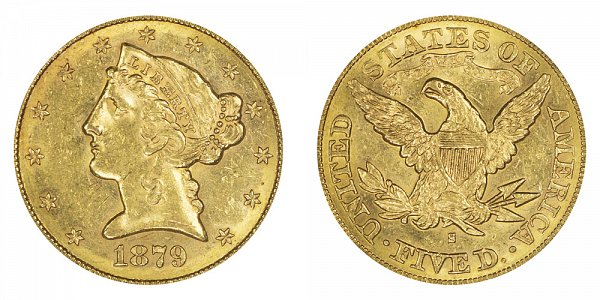 1879 S Liberty Head $5 Gold Half Eagle - Five Dollars