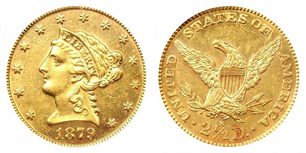 1879 S Liberty Head $2.50 Gold Quarter Eagle - 2 1/2 Dollars