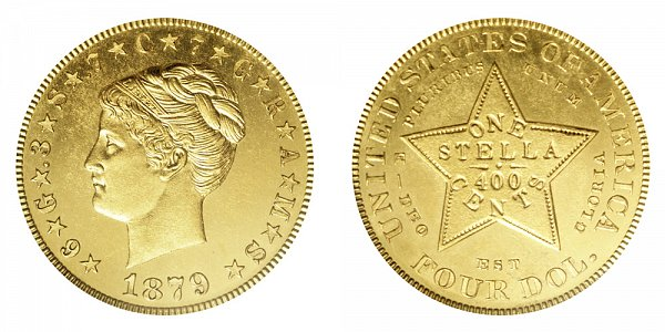 1879 Stella $4 Gold Dollars - Coiled Hair - Four Dollar Coin