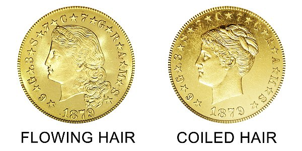 1879 Flowing Hair vs Coiled Hair Stella $4 Gold Coin - Difference and Comparison