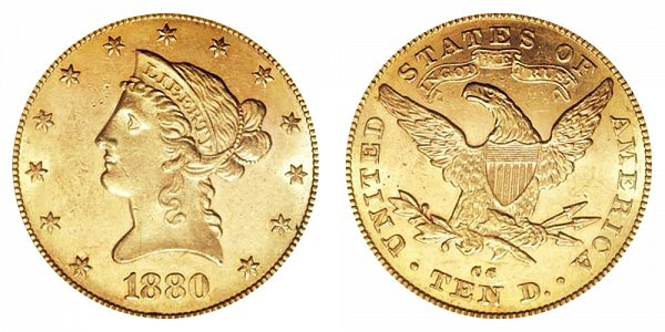 1880 CC Liberty Head $10 Gold Eagle - Ten Dollars