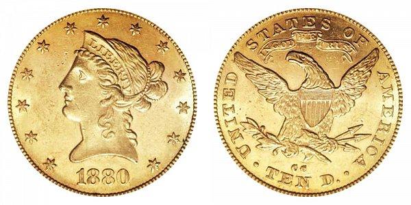 1880 CC Liberty Head $10 Gold Eagle - Ten Dollars