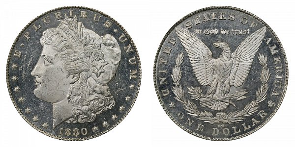 1880 8/7 CC Morgan Silver Dollar - Reverse of 1879 - 8 Over Low 7 Overdate