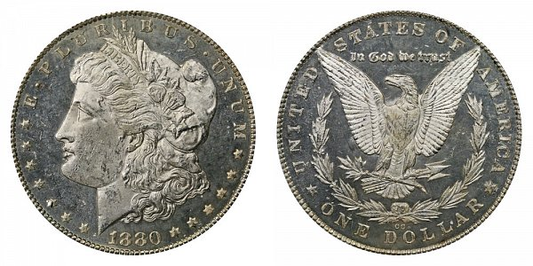 1880 CC Morgan Silver Dollar - Reverse of 1879 - 8/7 Dash Under 8
