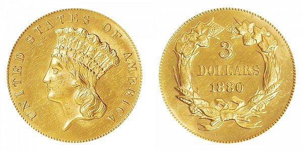 1880 Indian Princess Head $3 Gold Dollars - Three Dollars