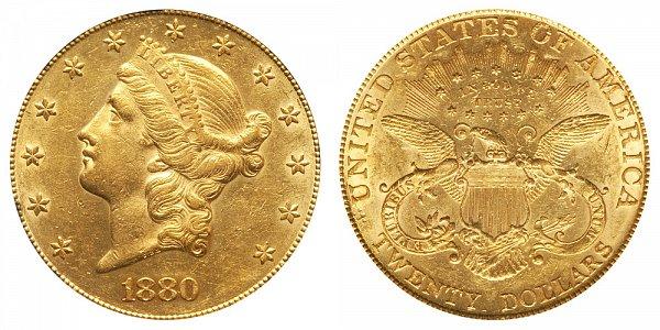 1880 Liberty Head $20 Gold Double Eagle - Twenty Dollars