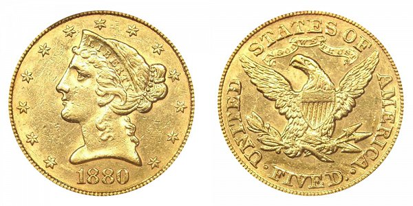 1880 Liberty Head $5 Gold Half Eagle - Five Dollars