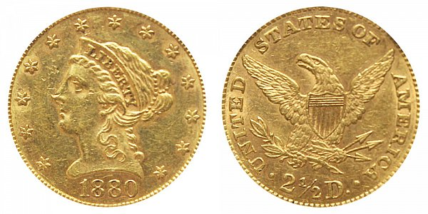 1880 Liberty Head $2.50 Gold Quarter Eagle - 2 1/2 Dollars
