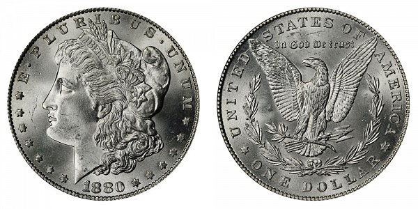 1880 Morgan Silver Dollar - Normal Date