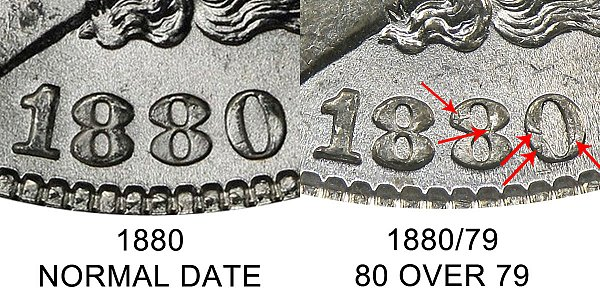 1880 Normal Date vs 1880/79 80 Over 79 Morgan Silver Dollar - Difference and Comparison