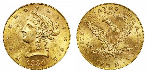 1880 S Liberty Head $10 Gold Eagle - Ten Dollars