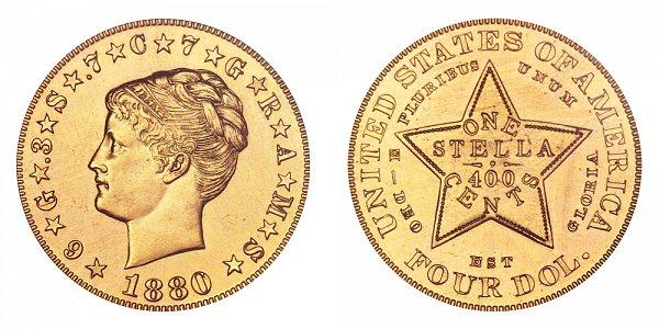 1880 Stella $4 Gold Dollars - Coiled Hair - Four Dollar Coin