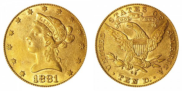 1881 CC Liberty Head $10 Gold Eagle - Ten Dollars
