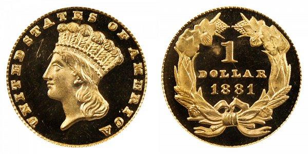 1881 Large Indian Princess Head Gold Dollar G$1
