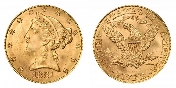 1881 Liberty Head $5 Gold Half Eagle - Five Dollars