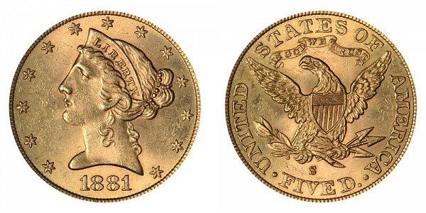 1881 S Liberty Head $5 Gold Half Eagle - Five Dollars