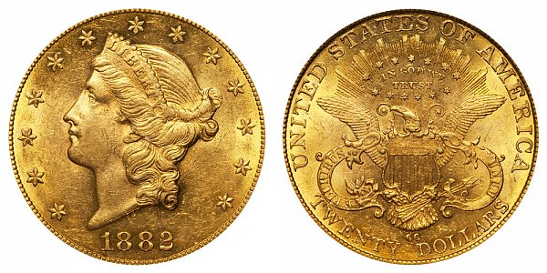 1882 CC Liberty Head $20 Gold Double Eagle - Twenty Dollars