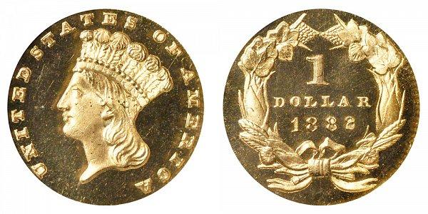 1882 Large Indian Princess Head Gold Dollar G$1
