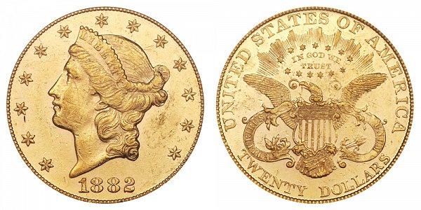 1882 Liberty Head $20 Gold Double Eagle - Twenty Dollars
