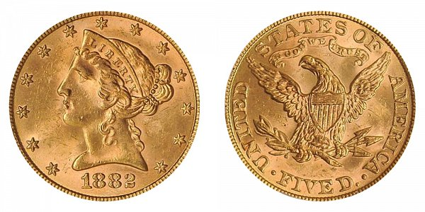 1882 Liberty Head $5 Gold Half Eagle - Five Dollars