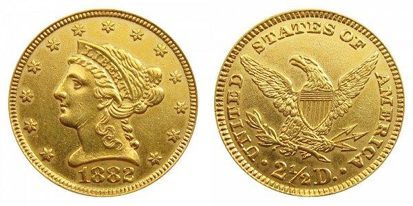 1882 Liberty Head $2.50 Gold Quarter Eagle - 2 1/2 Dollars