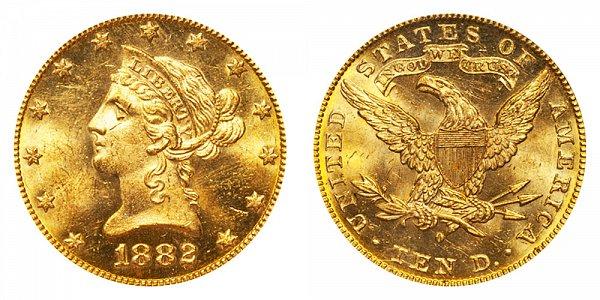 1882 O Liberty Head $10 Gold Eagle - Ten Dollars
