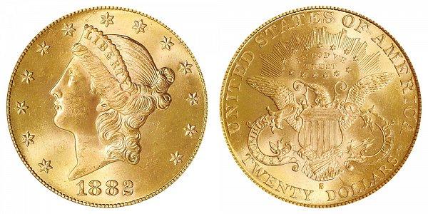 1882 S Liberty Head $20 Gold Double Eagle - Twenty Dollars