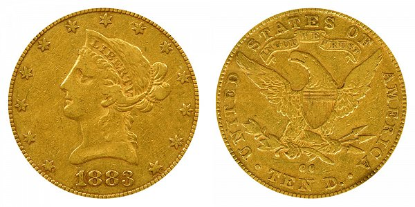 1883 CC Liberty Head $10 Gold Eagle - Ten Dollars