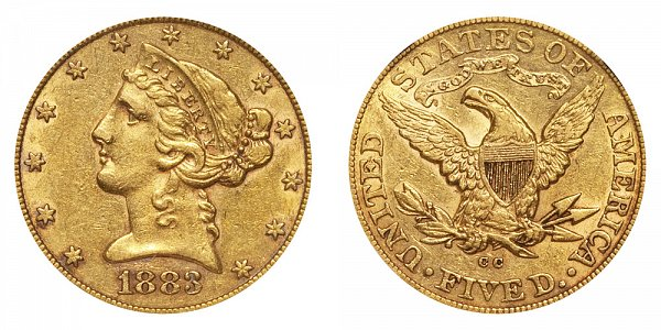 1883 CC Liberty Head $5 Gold Half Eagle - Five Dollars