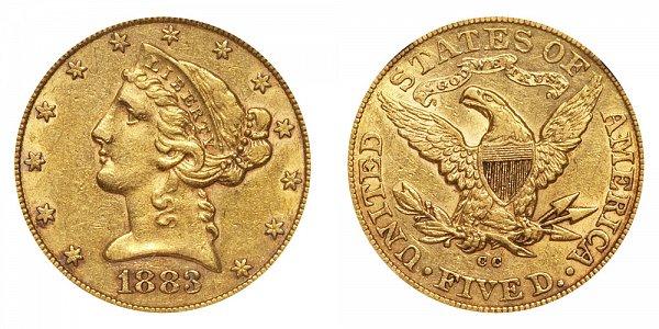 1883 CC Liberty Head $5 Gold Half Eagle - Five Dollars