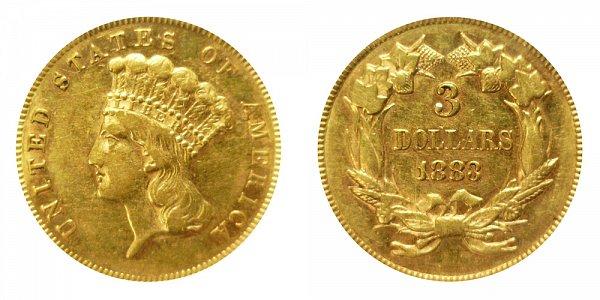 1883 Indian Princess Head $3 Gold Dollars - Three Dollars