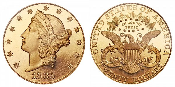 1883 Liberty Head $20 Gold Double Eagle - Twenty Dollars