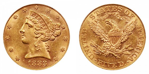 1883 Liberty Head $5 Gold Half Eagle - Five Dollars