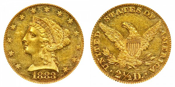 1883 Liberty Head $2.50 Gold Quarter Eagle - 2 1/2 Dollars
