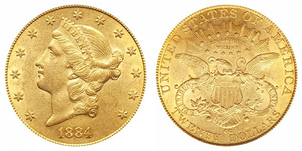 1884 CC Liberty Head $20 Gold Double Eagle - Twenty Dollars