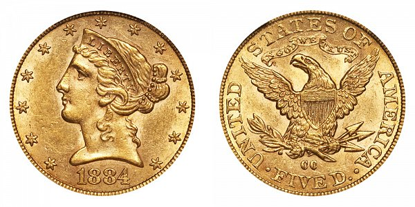 1884 CC Liberty Head $5 Gold Half Eagle - Five Dollars