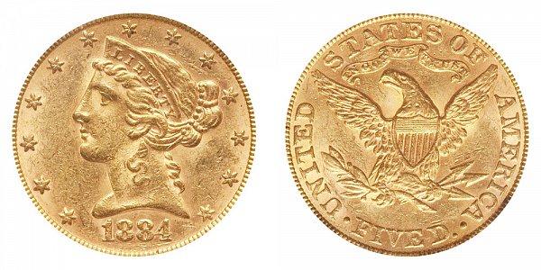 1884 Liberty Head $5 Gold Half Eagle - Five Dollars