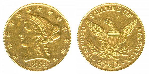 1884 Liberty Head $2.50 Gold Quarter Eagle - 2 1/2 Dollars