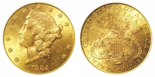 1884 S Liberty Head $20 Gold Double Eagle - Twenty Dollars