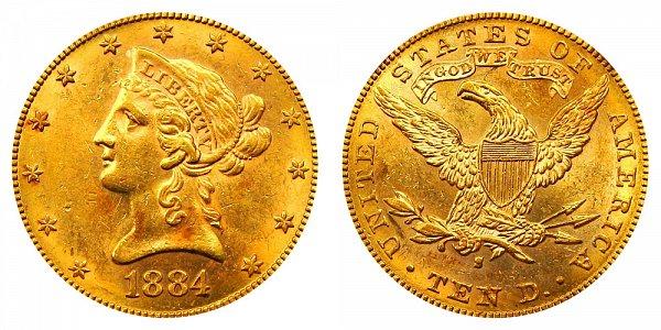 1884 S Liberty Head $10 Gold Eagle - Ten Dollars