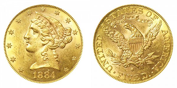 1884 S Liberty Head $5 Gold Half Eagle - Five Dollars