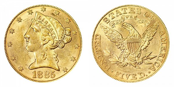 1885 Liberty Head $5 Gold Half Eagle - Five Dollars