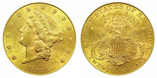 1885 S Liberty Head $20 Gold Double Eagle - Twenty Dollars