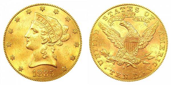 1885 S Liberty Head $10 Gold Eagle - Ten Dollars