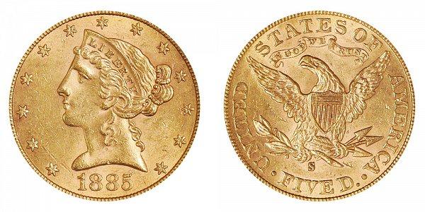 1885 S Liberty Head $5 Gold Half Eagle - Five Dollars