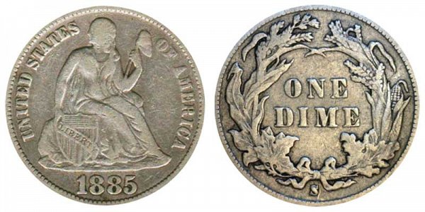 1885 S Seated Liberty Dime