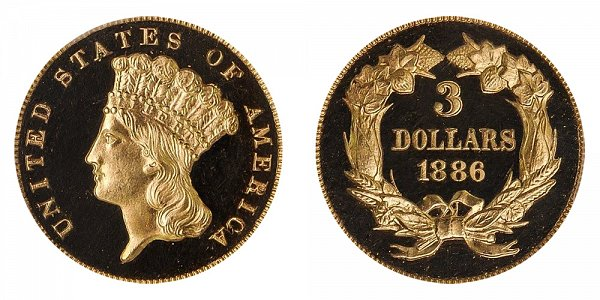 1886 Indian Princess Head $3 Gold Dollars - Three Dollars