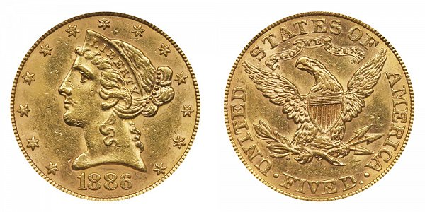 1886 Liberty Head $5 Gold Half Eagle - Five Dollars