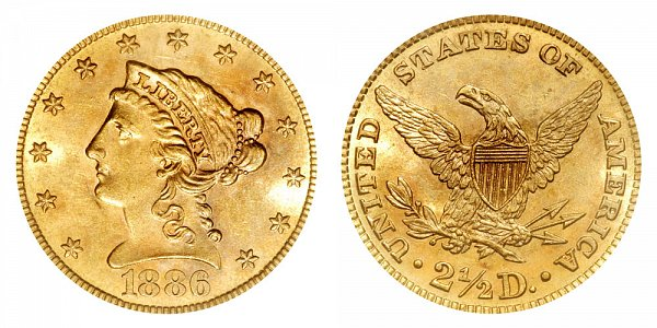 1886 Liberty Head $2.50 Gold Quarter Eagle - 2 1/2 Dollars