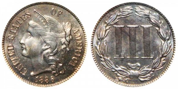 1886 Nickel Three Cent Piece - Proof
